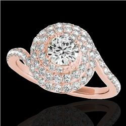 1.86 CTW H-SI/I Certified Diamond Solitaire Halo Ring 10K Rose Gold - REF-245N5A - 34505
