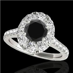 2 CTW Certified VS Black Diamond Solitaire Halo Ring 10K White Gold - REF-102X4R - 34081