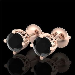 1.50 CTW Fancy Black Diamond Solitaire Art Deco Stud Earrings 18K Rose Gold - REF-70H9M - 38067