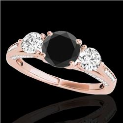 1.75 CTW Certified VS Black Diamond 3 Stone Ring 10K Rose Gold - REF-107A5V - 35353