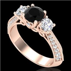 1.81 CTW Fancy Black Diamond Solitaire Art Deco 3 Stone Ring 18K Rose Gold - REF-180A2V - 38025