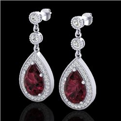 4.50 CTW Garnet & Micro Pave VS/SI Diamond Earrings Designer 18K White Gold - REF-66H7M - 23117