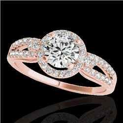 1.25 CTW H-SI/I Certified Diamond Solitaire Halo Ring 10K Rose Gold - REF-161H8M - 34088