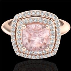 1.92 CTW Morganite & Micro VS/SI Diamond Certified Pave Halo Ring 14K Rose Gold - REF-68Y9X - 20764