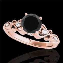 1.15 CTW Certified VS Black Diamond Solitaire Antique Ring 10K Rose Gold - REF-52H2M - 34814