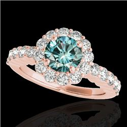 1.75 CTW SI Certified Fancy Blue Diamond Solitaire Halo Ring 10K Rose Gold - REF-180X2R - 34165