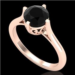 1.25 CTW Fancy Black Diamond Solitaire Engagement Art Deco Ring 18K Rose Gold - REF-81F8N - 38060