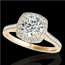 1.40 CTW H-SI/I Certified Diamond Solitaire Halo Ring 10K Yellow Gold - REF-254A5V - 34186