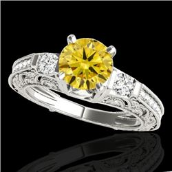 1.38 CTW Certified SI Intense Yellow Diamond Solitaire Antique Ring 10K White Gold - REF-174V5Y - 34