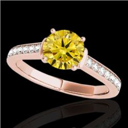 1.50 CTW Certified SI/I Fancy Intense Yellow Diamond Solitaire Ring 10K Rose Gold - REF-236A4V - 349