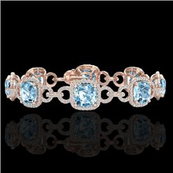 30 CTW Topaz & Micro VS/SI Diamond Certified Bracelet 14K Rose Gold - REF-368A9V - 23033
