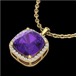 6 CTW Amethyst & Micro Pave Halo VS/SI Diamond Necklace 18K Yellow Gold - REF-54M2F - 23075