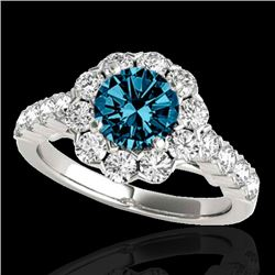 2.35 CTW SI Certified Fancy Blue Diamond Solitaire Halo Ring 10K White Gold - REF-218F2N - 33549