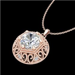 1.11 CTW VS/SI Diamond Solitaire Art Deco Stud Necklace 18K Rose Gold - REF-315F2N - 36924