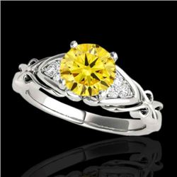 1.35 CTW Certified SI Fancy Yellow Diamond Solitaire Ring 10K White Gold - REF-254K5W - 35213