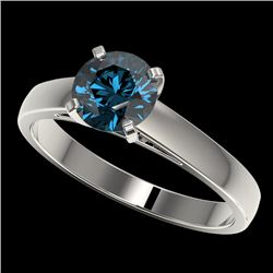 1.28 CTW Certified Intense Blue SI Diamond Solitaire Engagement Ring 10K White Gold - REF-147Y7X - 3