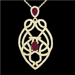 3.50 CTW Ruby & Micro VS/SI Diamond Heart Necklace Designer 14K Yellow Gold - REF-179V6Y - 21251