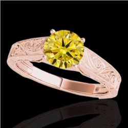 1.50 CTW Certified SI/I Fancy Intense Yellow Diamond Antique Ring 10K Rose Gold - REF-236R4K - 35199