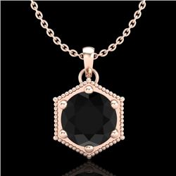 0.82 CTW Fancy Black Diamond Solitaire Art Deco Stud Necklace 18K Rose Gold - REF-54X5R - 38046