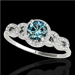 1.33 CTW SI Certified Fancy Blue Diamond Solitaire Ring 10K White Gold - REF-161N8A - 35318