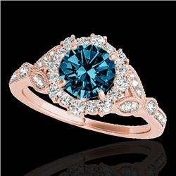 1.50 CTW SI Certified Fancy Blue Diamond Solitaire Halo Ring 10K Rose Gold - REF-174M5F - 33766