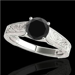 1 CTW Certified VS Black Diamond Solitaire Ring 10K White Gold - REF-45M8F - 35185