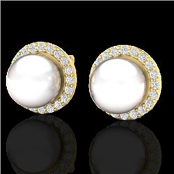 0.50 CTW Micro Pave Halo VS/SI Diamond Certified & Pearl Earrings 18K Yellow Gold - REF-61W5H - 2150