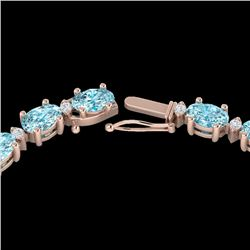 34 CTW Sky Blue Topaz & VS/SI Diamond Certified Tennis Necklace 10K Rose Gold - REF-149A8V - 21586