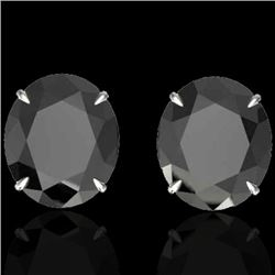 18 CTW Black VS/SI Diamond Certified Designer Stud Earrings 18K White Gold - REF-381Y8X - 21695