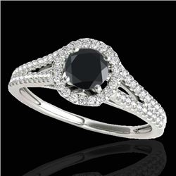 1.30 CTW Certified VS Black Diamond Solitaire Halo Ring 10K White Gold - REF-64Y9X - 33885