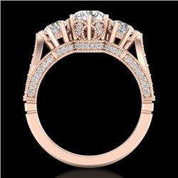 2.18 CTW VS/SI Diamond Art Deco 3 Stone Ring 18K Rose Gold - REF-270N2A - 37248