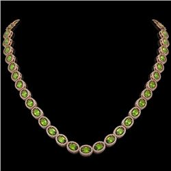 31.1 CTW Peridot & Diamond Necklace Rose Gold 10K Rose Gold - REF-554V7Y - 40821