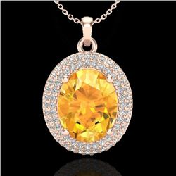 4 CTW Citrine & Micro Pave VS/SI Diamond Certified Necklace 14K Rose Gold - REF-84W9H - 20559