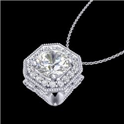 1.54 CTW VS/SI Diamond Solitaire Art Deco Necklace 18K White Gold - REF-409X3R - 37325