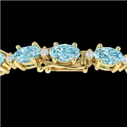 14 CTW Sky Blue Topaz & VS/SI Diamond Certified Eternity Bracelet 10K Yellow Gold - REF-73Y6X - 2144