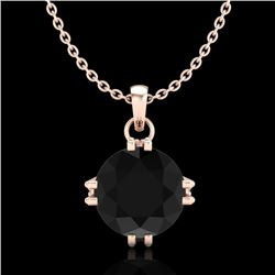 1 CTW Fancy Black Diamond Solitaire Art Deco Stud Necklace 18K Rose Gold - REF-67A3V - 37542