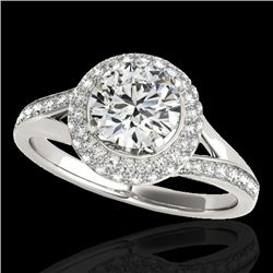 1.85 CTW H-SI/I Certified Diamond Solitaire Halo Ring 10K White Gold - REF-218H2M - 34123