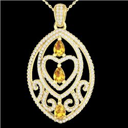 3.50 CTW Yellow Sapphire & Micro VS/SI Diamond Heart Necklace 18K Yellow Gold - REF-218X2R - 21301