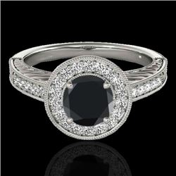 1.50 CTW Certified VS Black Diamond Solitaire Halo Ring 10K White Gold - REF-75Y3X - 33745