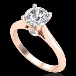 1.36 CTW VS/SI Diamond Solitaire Art Deco Ring 18K Rose Gold - REF-405F2N - 37290