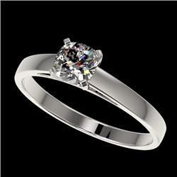 0.50 CTW Certified VS/SI Quality Cushion Cut Diamond Solitaire Ring 10K White Gold - REF-64K3W - 329