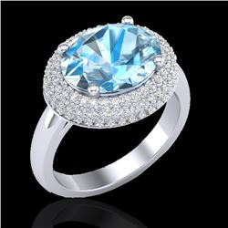 5 CTW Sky Blue Topaz & Micro Pave VS/SI Diamond Certified Ring 18K White Gold - REF-98F7N - 20908