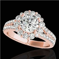2.51 CTW H-SI/I Certified Diamond Solitaire Halo Ring 10K Rose Gold - REF-384W2H - 33941