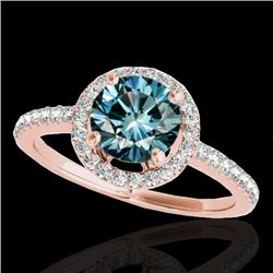 1.40 CTW SI Certified Fancy Blue Diamond Solitaire Halo Ring 10K Rose Gold - REF-172R7K - 34102