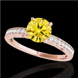 1.18 CTW Certified SI Intense Yellow Diamond Solitaire Antique Ring 10K Rose Gold - REF-174F5N - 346