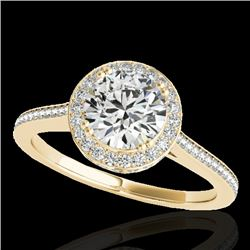 1.55 CTW H-SI/I Certified Diamond Solitaire Halo Ring 10K Yellow Gold - REF-250A9V - 33528