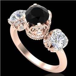 3 CTW Fancy Black Diamond Solitaire Art Deco 3 Stone Ring 18K Rose Gold - REF-318X2R - 37430