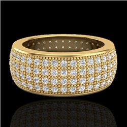 2.50 CTW Micro Pave VS/SI Diamond Eternity Ring 18K Yellow Gold - REF-249N3A - 20884