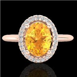 1.75 CTW Citrine & Micro VS/SI Diamond Ring Solitaire Halo 14K Rose Gold - REF-40M2F - 21006