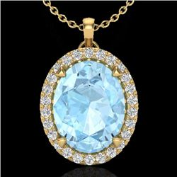 2.75 CTW Aquamarine & Micro VS/SI Diamond Halo Solitaire Necklace 18K Yellow Gold - REF-58F4N - 2058